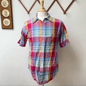 Lord & Taylor Madras Plaid Button Shirt